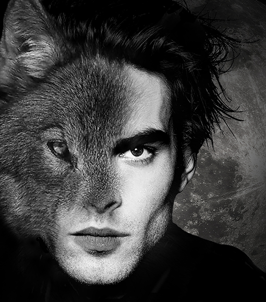 Composite of wolf and man's face